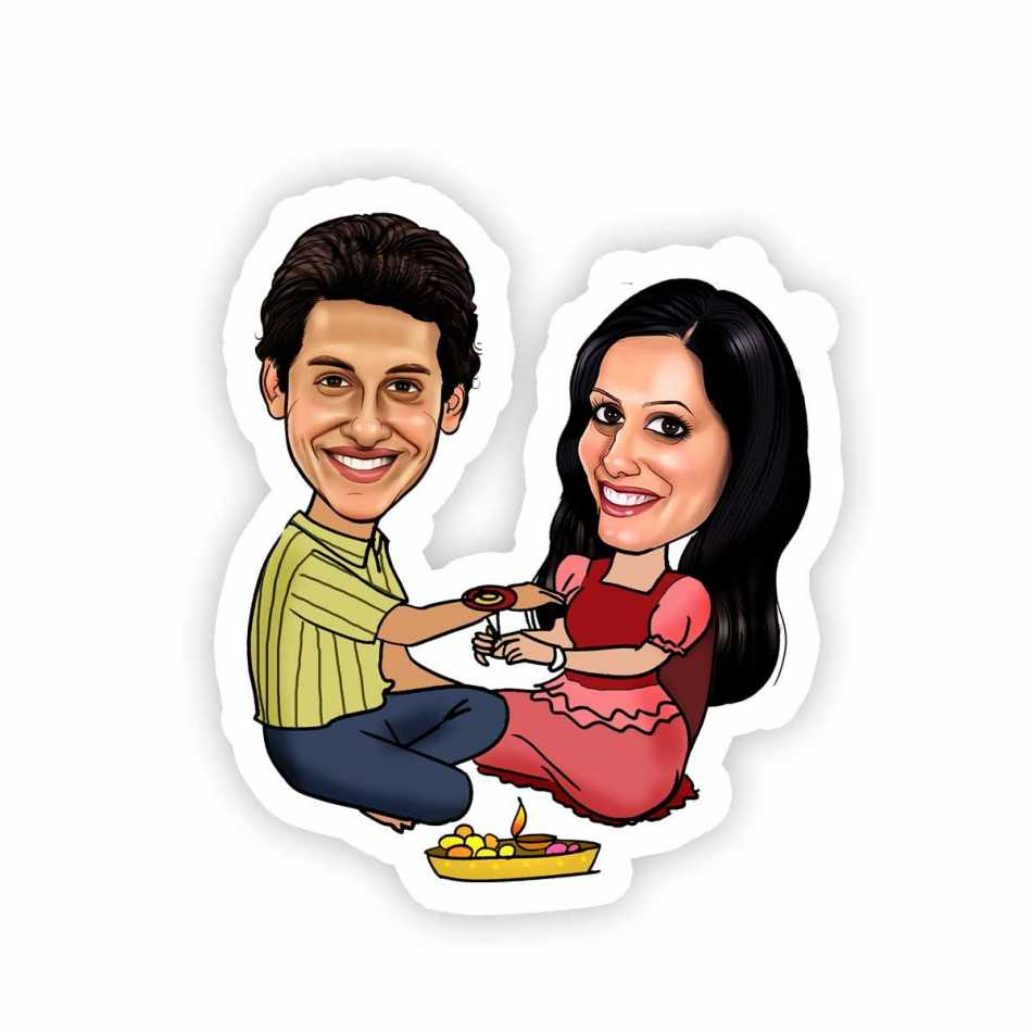 Caricature Magnets With Brother Sister themes